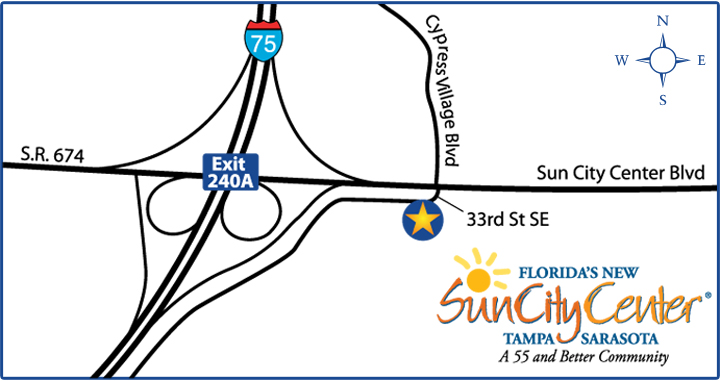 Map of Sun City Center Tampa homes