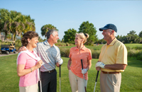 group of retired people golfing in Florida