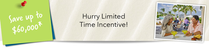 Inquire about the limited time incentives available for our Harbour Isle Anna Maria  resort homes and condos.