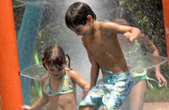 kids playing in waterpark