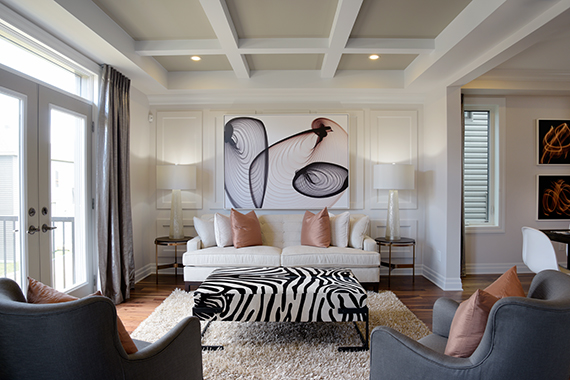 After Hosting Dinner Retire To The Great Room That Flows From Formal Dining Walnut Cashmere Hardwood Flooring And A Decorative Ceiling Adds
