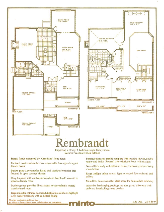 Minto group inc defining luxury minto homes in the 80s for Rembrandt homes floor plans