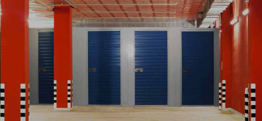 red and blue storage lockers