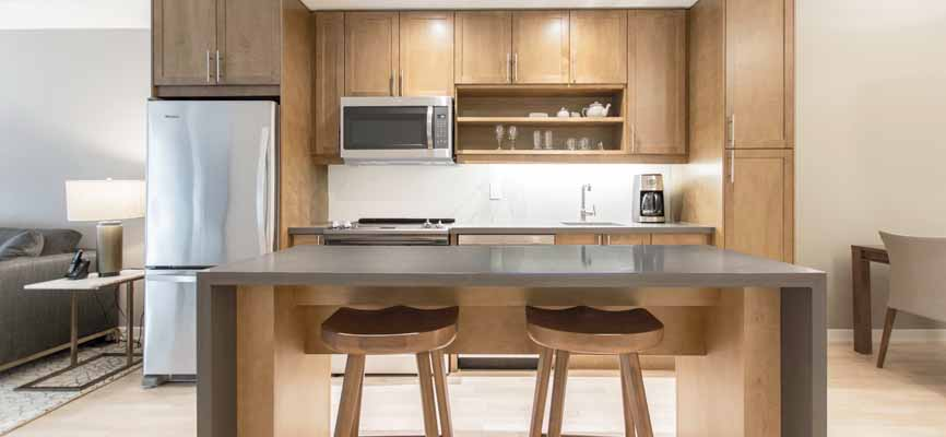 wood and metal open concept kitchen