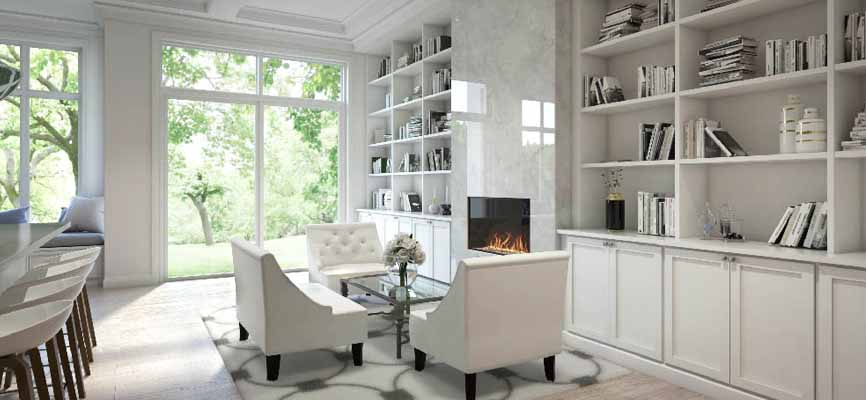 open shelving in a white dining room and kitchen