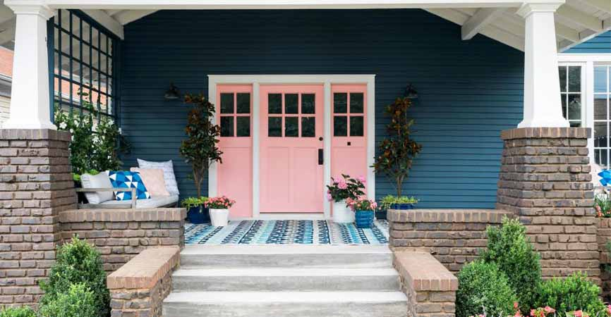 HGTV's image of a pink door and front porch