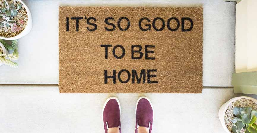 it's so good to be home welcome mat