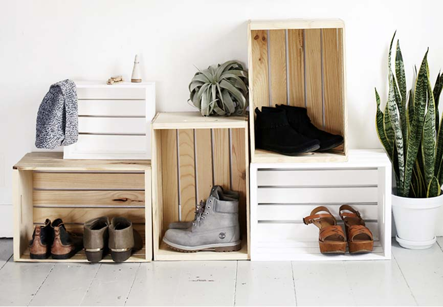 turned over crates used as a shoe rack