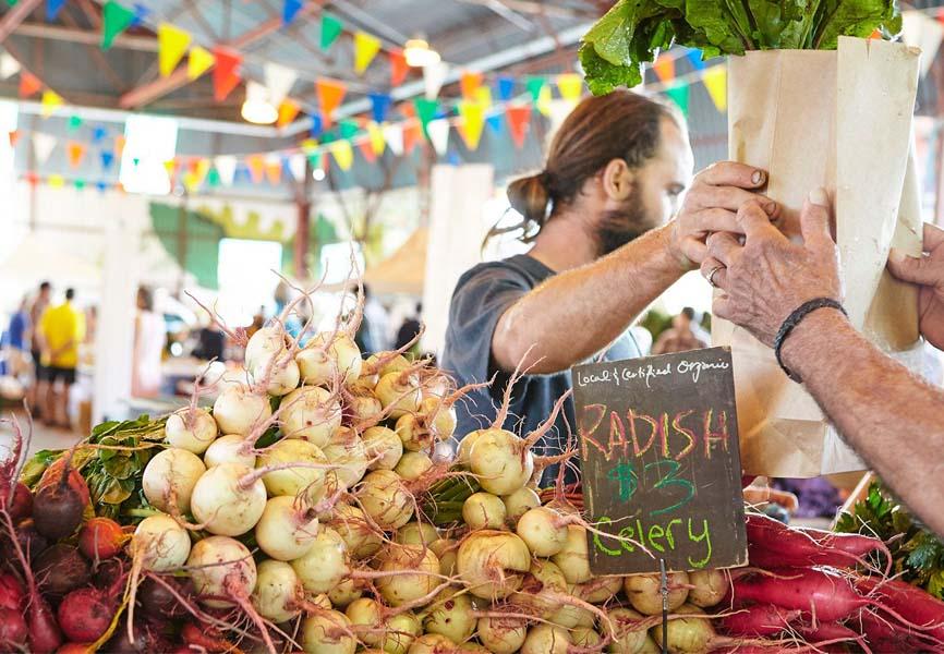 Vendor selling Radish to a customer at a farmers market