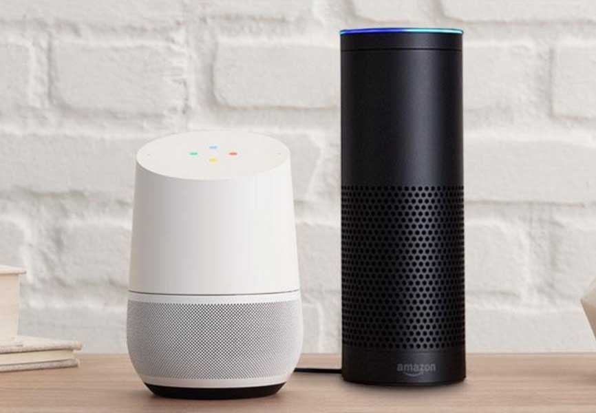 Google Home and Amazon Alexa virtual assistants on a table