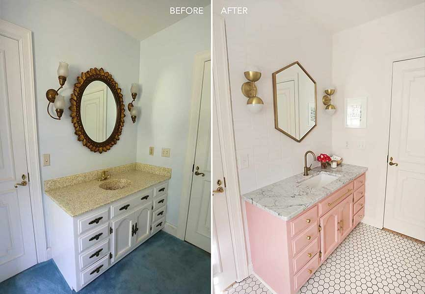 Before and after image of a bathroom sink and floor area