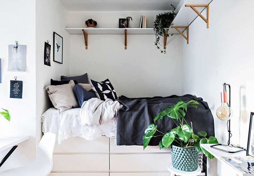 Compact white bedroom