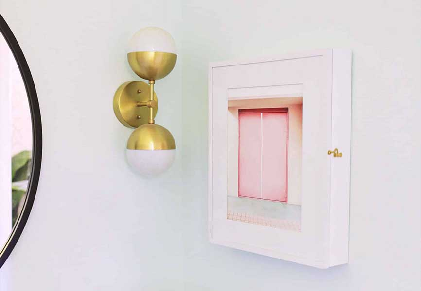 Pink homemade cabinet