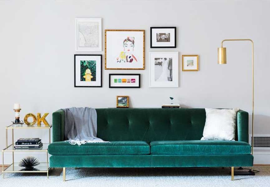 Green couch in a living room