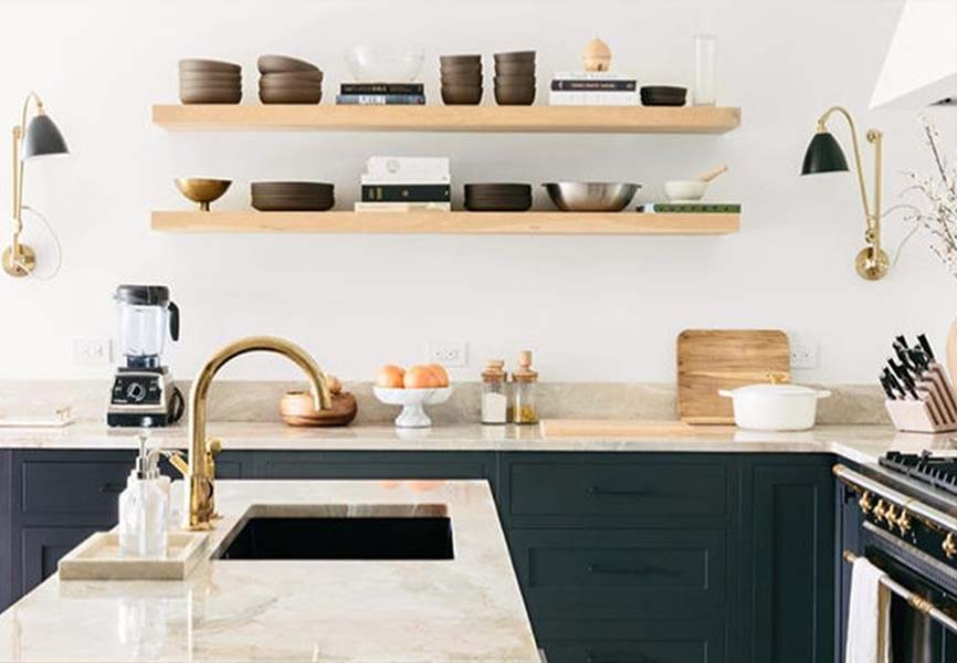 Open modern kitchen with floating shelves