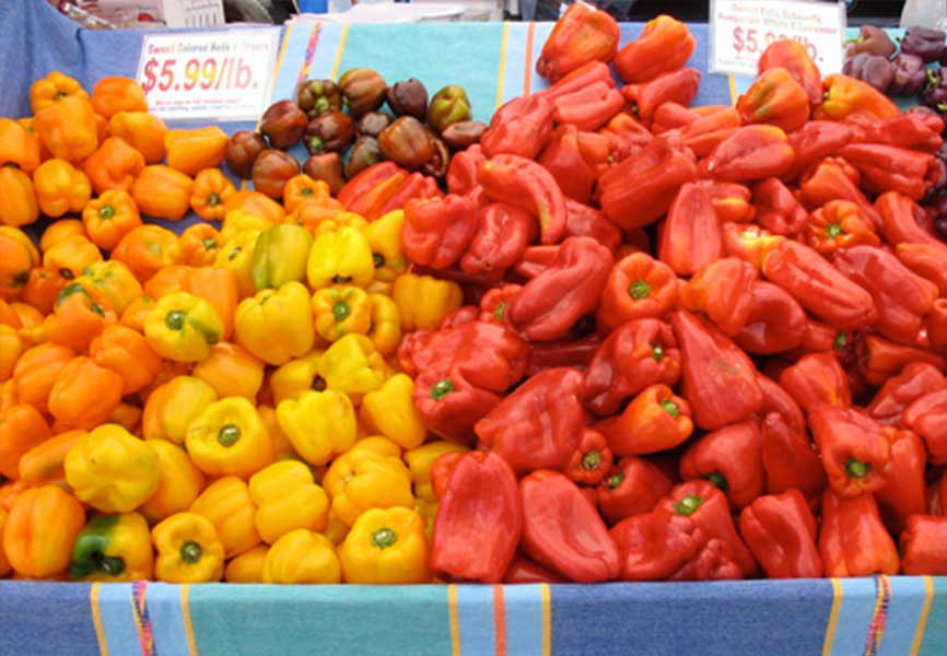 Red, orange and yellow peppers