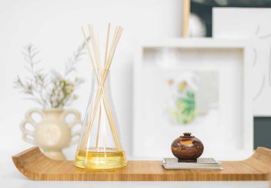 Wooden sticks in a glass vase