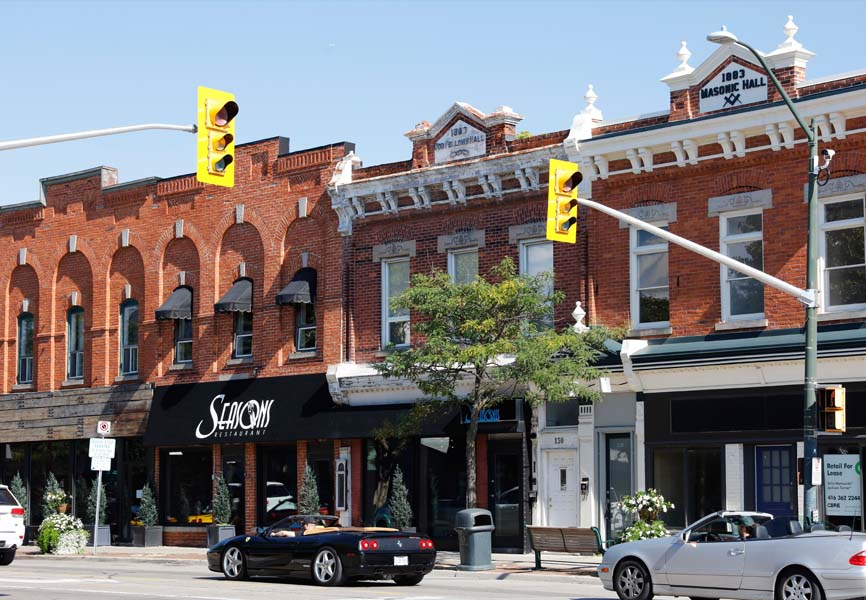 Oakville street showing different businesses