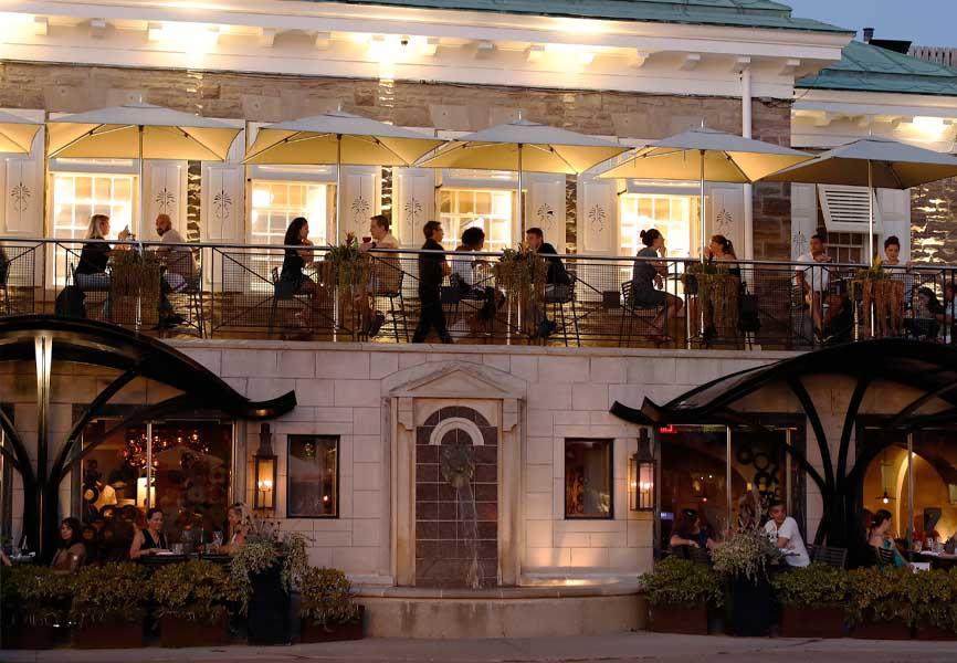 Busy restaurant patio in Oakville