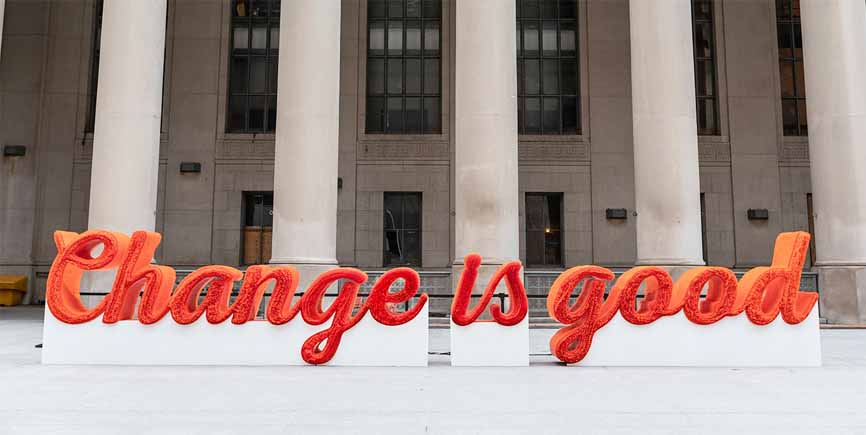 Change is good A&W sign made of straws