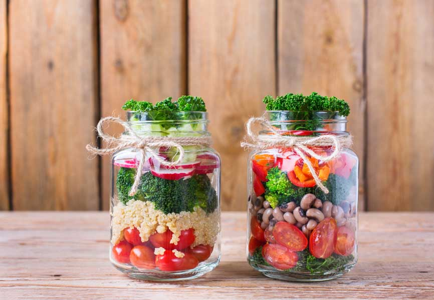 eco-friendly food containers, food in mason jars