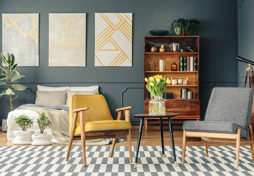 grey and yellow bachelor decorated apartment