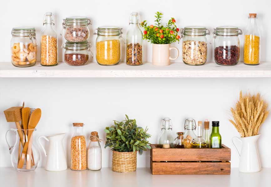 food on kitchen counter in mason jars