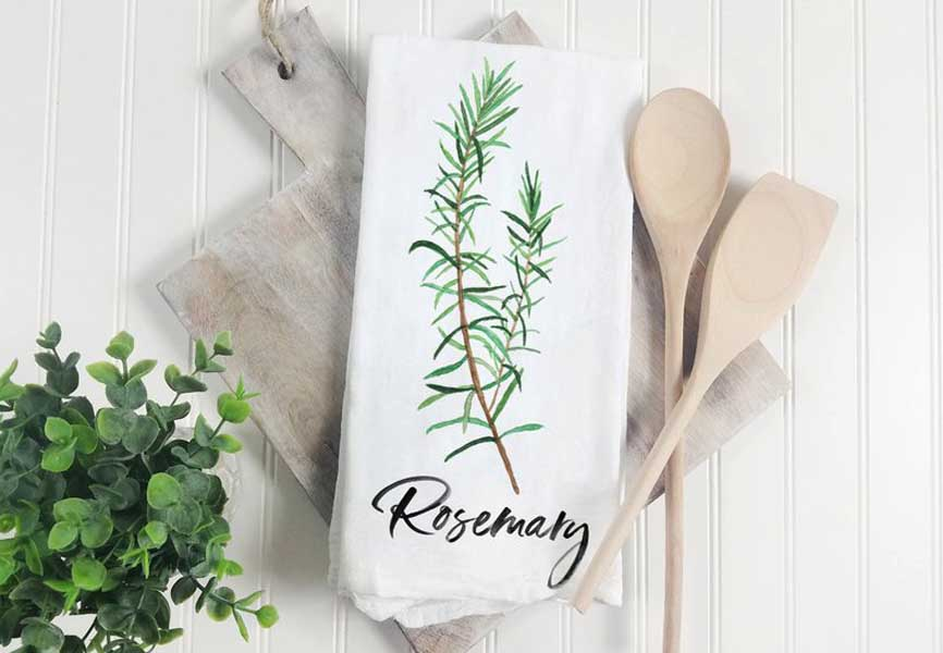 organic cotton dish towels that say rosemary