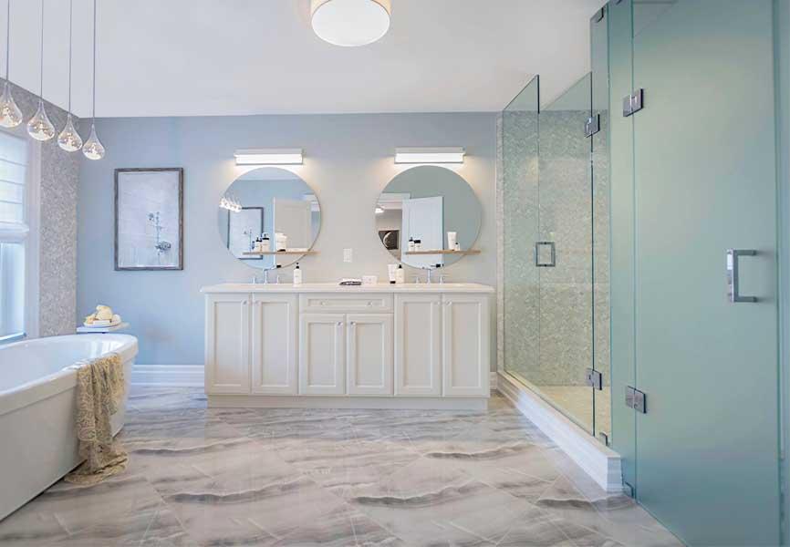 Glen Agar Model Home bathroom with double sinks