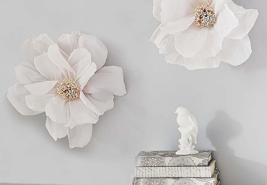 pretty flower wall decals on light grey wall
