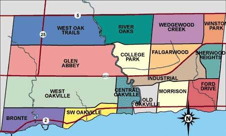 Oakville neighbourhood map
