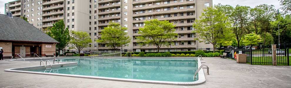apartments with an outdoor pool and greenspace in London Ontario