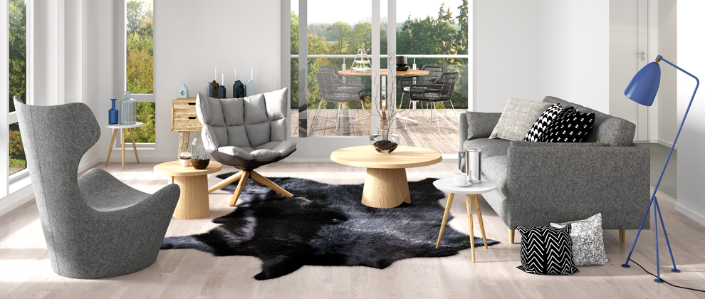 Bright, Modern Living Room With Cow Hide Carpet