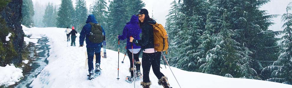 friends cross country skiing outside
