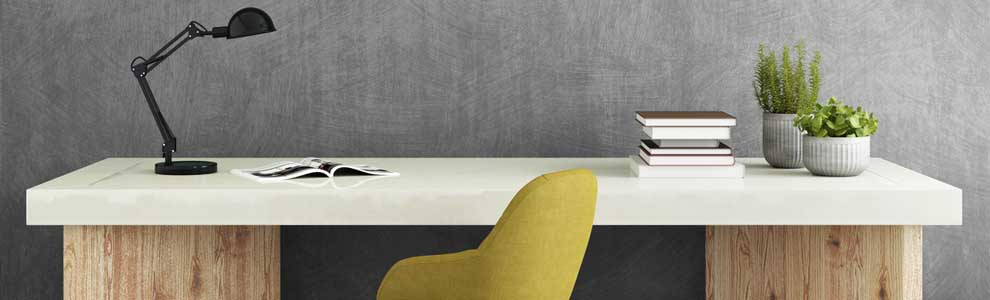 desk with yellow chair in grey room
