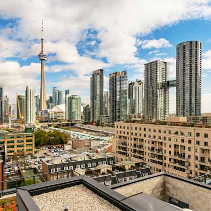 view of Toronto skyline from viewpoint of the King West neighbourhood