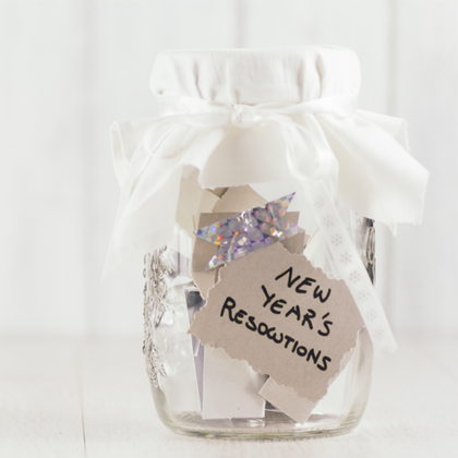 Sticking to Resolutions - clear glass mason jar with