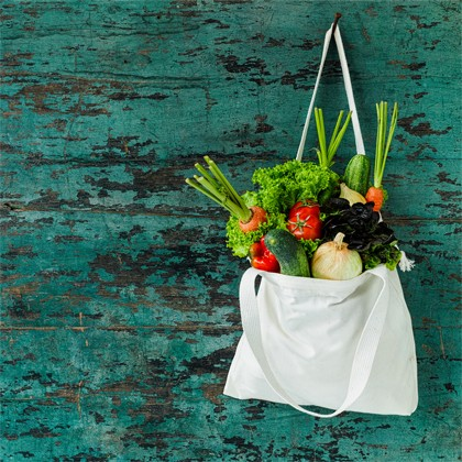 Practice Zero Waste - Vegetables in reusable grocery bag