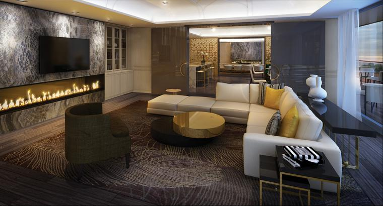 A fireplace lounge is one of the many amenities offered at Minto Yorkville Park, now on sale.