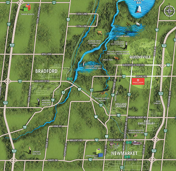 East Gwillimbury amenities map, Queen's Landing is close to nature, and all urban amenities.