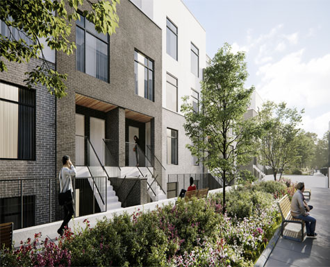 Stacked townhomes in Oakville with private terraces