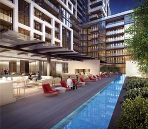 The outdoor pool at Minto Westside will offer great views of Toronto.