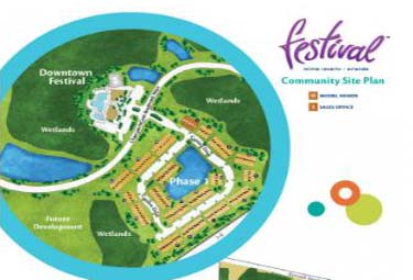 Festival site plan surrounded by 200 acres of greenspace. Now on sale in Orlando, Florida.