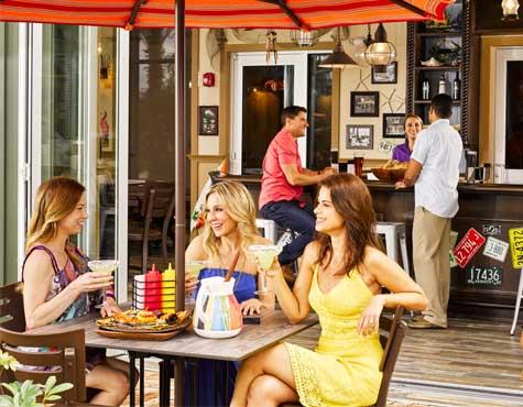 Enjoy lunch on a patio at Festival in Orlando, Florida