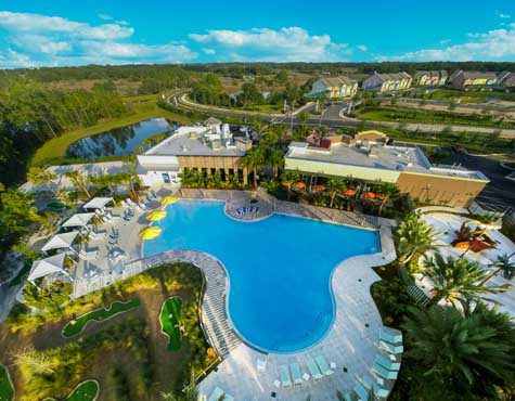 Aerial shot of Festival amenities, now on sale in Orlando, Florida
