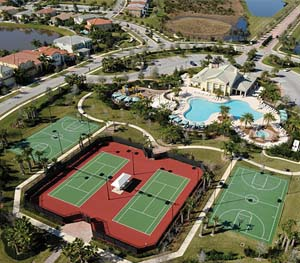 Aerial of LakePark amenities, including tennis courts, basketball courts and pools,