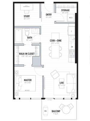 1 Bedroom Plus Den Floorplan