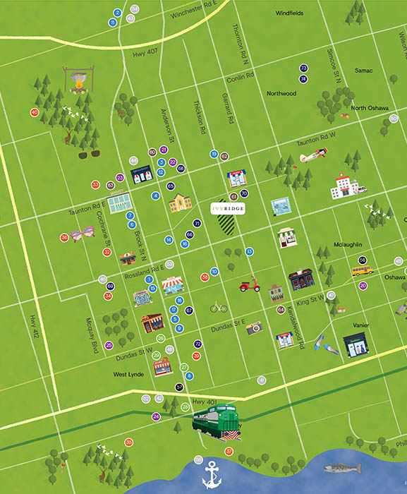 Whitby amenities map show plenty of greenspace, sports arenas, and close to dining and shopping