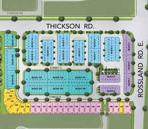 Townhomes siteplan, close to Pringle Creek located at Thickson rd and Rosland Rd E
