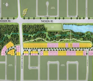 North Side Site plan, single family homes backing onto Pringle Creek for sale now